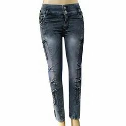 I M Fashion Zone Regular Ladies Stylish Blue Casual Jeans, Packaging Type: Packet, Waist Size: 28-32 Inch