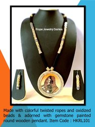 HKRL101 Rope Jewelry Gemstone Painted Pendant