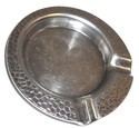 Vintage Heavy Nickel Plated Brass Hammered Ashtray