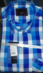Mens Polyester Cotton Checks Shirts, Size: S-L