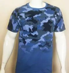 Mens Discahrge Print Round Neck T Shirt