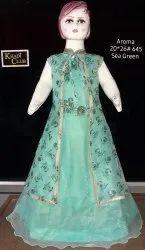 Green Designer Kids Indo Western Dress