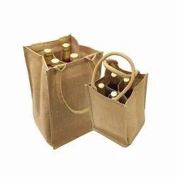 Four Bottle Jute Wine Bag