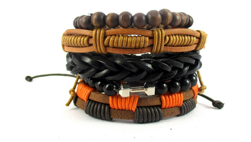 4e5311e38001c Gold Rustic Leather & Bead Bracelets For Men