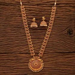 Antique Matte Gold Plated Peacock Necklace Set 200439, Size: Length = 18 Inch