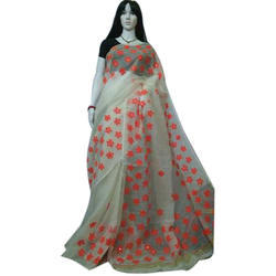 Cotton Embroidery Ari Work Saree With Blouse