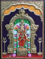 Gomathi Amman Embossed Tanjore Painting