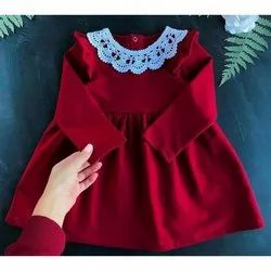 Maroon and White Satin Kids Designer Frock, 6 Month -5 Years