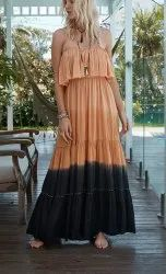 Ombre Tie Dye Off Shoulder Maxi Dress