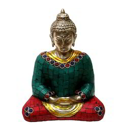 Brass Gemstone Buddha Statue