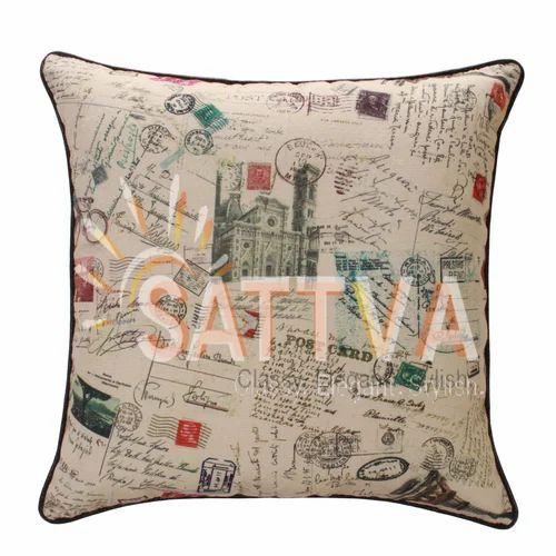 Multicolor Cotton Canvas Sofa Cushion Stamp Print Size 40x40x40 Cm