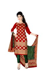 Red And Green Color Fancy Gadhwal Bandhani Dress Material