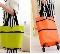 Oxford Cotton Multicolor Foldable Shopping Bag Trolley