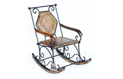National Handicrafts Carved Wrought Iron Rocking Chair