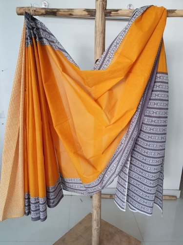 Casual Wear Printed Jaipuri Print Cotton Saree, 5.2 M (separate Blouse Piece), With Blouse