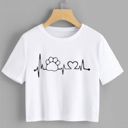 White Casual Wear Ladies Short Printed T-Shirts