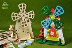 Mill 3D Wooden STEAM Learning Coloring and Painting Model