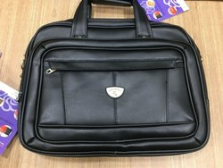 Black Leather Foam Laptop Bag