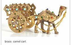 Golden Colour Stone Work Brass Camel Cart