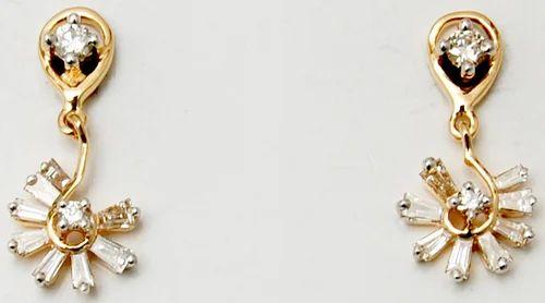 Party Wear Stylish Designer Fl Diamond Hanging Earring