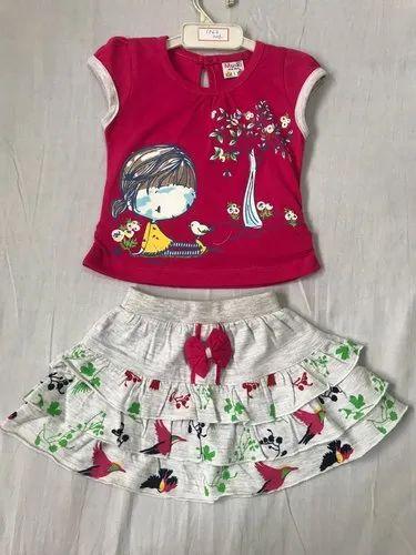 758b628dfb Pink & White Printed Kids Skirt Top