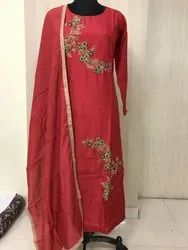 Indian Ethnic Designer Pure Dola Silk Party Wear Long Kurti