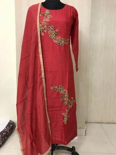 Straight 3/4th Sleeve Indian Ethnic Designer Pure Dola Silk Party Wear Long Kurti