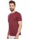 Men Cotton Maroon Round Neck T-Shirt
