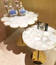 White Agate Brass Coffee Table