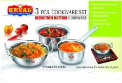 KEVAL Mirror Finish 3PC COOKEWARE SET, For Kitchen