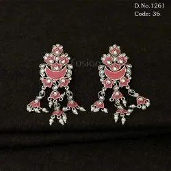 Silver Antique Designer Meenakari Earrings