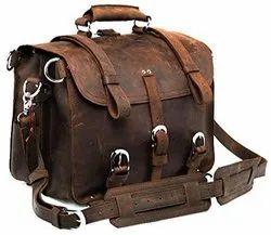 Men's Retro Full Grain Leather Briefcase Shoulder Messenger Bag Briefcase Multi-Functional