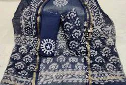 Bagru Hand Block Printed Kota Doria Suit Set With Dupatta
