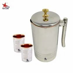 Stainless Steel Copper Jug 1.5 Litre And Stainless Steel Copper Water Glasses Set Of 2