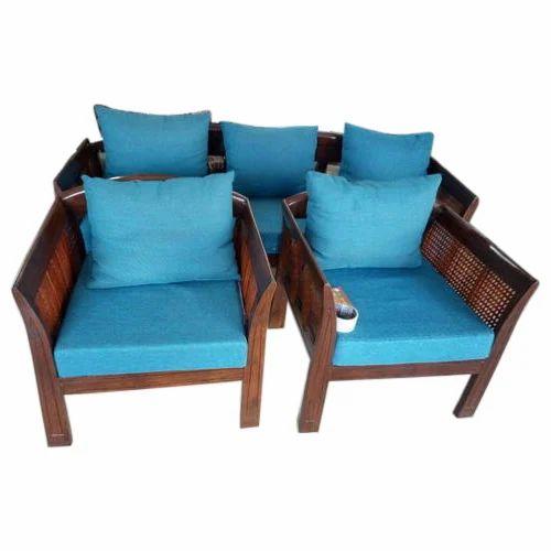 Cushion Back Wooden Sofa Set
