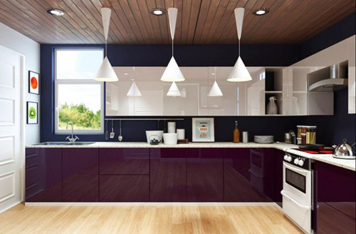 Residential Acrylic L Shaped Modular Kitchen, Warranty: 1-5 Years