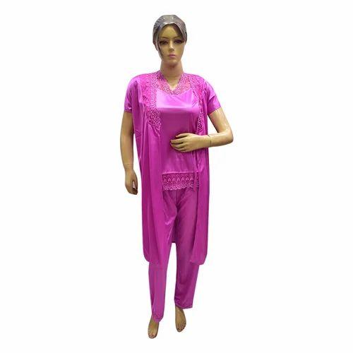 be9c04f1a5c Ladies Half Sleeve 3 Piece Night Suit