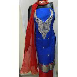 Blue Banarasi Gota Patti Suit