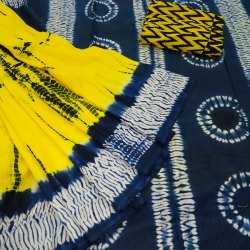 Bagru Shibori Print Cotton Mulmul Saree