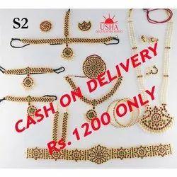 Usha Gold Bharathantyam Full Set, Size: Free