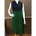 Green & Black A-line Cotton Plain Double Color Kurtis, Size: Large & Xl
