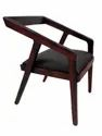 Brown Leather Wooden Comfortable Chair