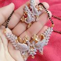 White And Gold Wedding American Diamond Gold Plated Manglasutra Jewellery Pendant