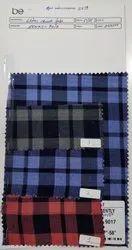 Cotton Yarn Dyed Indigo Blue Check Fabric