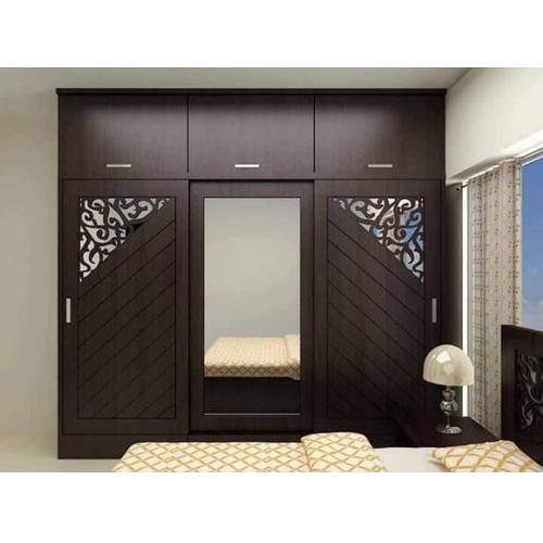 Bedroom Wooden Mirror Wardrobe, Height: 5 6 Feet, Rs 1550 /square