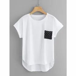 100% Cotton Jersey White And Black Girls Slouch Tee Top, Size: S-xxl
