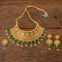 Antique Gold Plated Choker Necklace 203426, Size: Regular Size And Adjustable