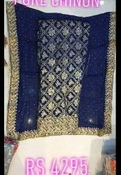 Embroidered Wedding Wear Pure Chinon Suit