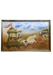 Hand-made 3D Mural Painting Of Mahabharata A Multicolor
