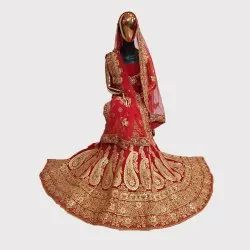 Red Bridal Velvet Lehenga